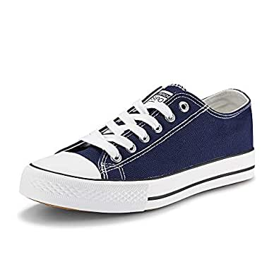 JENN ARDOR Women's Canvas Shoes Casual Sneakers Low Cut Lace Up Fashion Comfortable Walking Flats Blue Size: 6