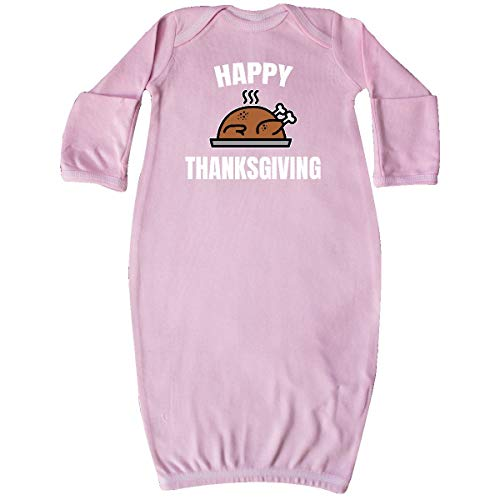 inktastic - Happy Thanksgiving with Baked Turkey Newborn Layette Pink - Baked Turkey