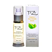 Premium Taza Natural Vitamin C Anti-Aging Serum, 30 ml (1 fl oz) ♦ Radiant Skin ♦ With: Aloe Leaf Juice, Ethyl Ascorbic Acid (Vitamin C), Niacinamide (Vitamin B3), Hyaluronic Acid (HA), Fruit Acids (Alpha Hydroxy Acid)