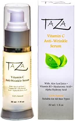 Premium Taza Natural Vitamin C Anti-Aging Serum, 1 fl oz ♦ Radiant Skin ♦ With: Aloe Leaf Juice, Ethyl Ascorbic Acid (Vitamin C), Niacinamide (Vitamin B3), Hyaluronic Acid (HA), Alpha Hydroxy Acid