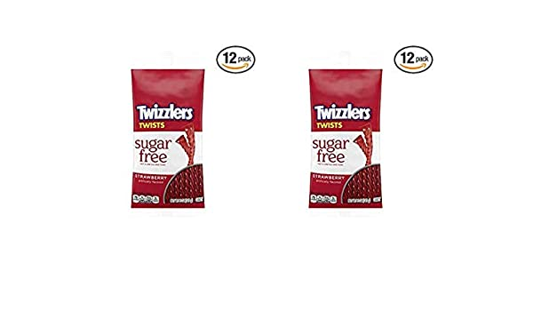 TWIZZLERS Sugar Free Strawberry Licorice Candy, 5 Ounce (2 Pack (24 count))
