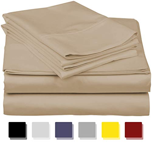 600-Thread-Count Best 100% Egyptian Cotton Sheets & Pillowcases Set - 4 Pc Sand Long-Staple Combed Cotton Bedding King Sheet for Bed, Fits Mattress Upto 18'' Deep Pocket, Soft & Silky Sateen Weave