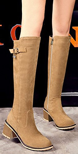 Easemax Women's Elegant Faux Suede Zip Up Mid Block Heel Round Toe Buckle Knee High Booties apricot KhuCWq9If