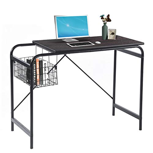 Computer Writing Desk with Metal Storage Basket Industrial Modern Simple Laptop Desk Wooden Study Workstation Space Saving Table Ideal for Home Office Dormitory Small Room or Corner, Walnut