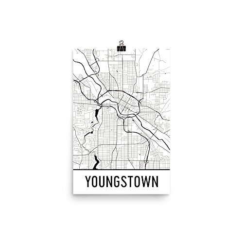 "Modern Map Art Youngstown Print, Youngstown Art, Youngstown Map, Youngstown OH, Youngstown Ohio, Youngstown Poster, Youngstown Wall Art (12"" x 18"", White and Black)"