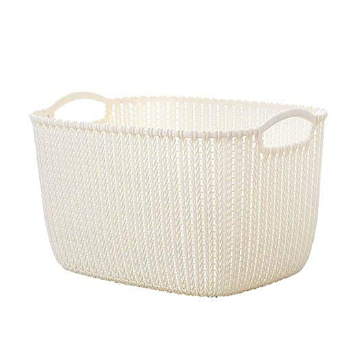 (Imitation Rattan Storage Basket Plastic Desktop Debris Box Frame Bathroom Cosmetics Home Office Sundries Organizer Office Holder,White,28x22x15cm)