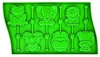 Pavoni LP02VR8S Platinum Silicone Animals Lollipop Mould, Green