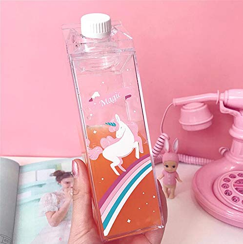 Tigor Unicorn Water Bottle - Zero Waste Water Bottle - Milk Box Plastic - Milk Bottles - Juice Bottle - BPA Free Environment Friendly Material 500ml + 2 Cute Unicorn Rings (Style 1)