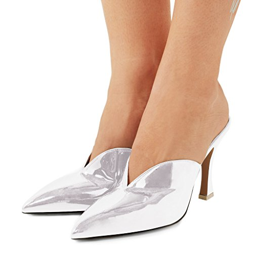 Fsj Donne Bellissime Scarpe A Punta Toe Mule Slip On Tacco Alto Sandali Scarpe Da Festa In Vernice Taglia 4-15 Us Bianco