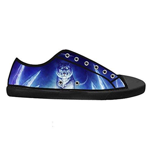 CHEESE Top Design Sneaker Flat Tigre Low con Donna Personalizzato Nero Bella Lacci Traspirante Chiusura Scarpe Classico Canvas da rc6qwTvrA