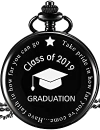 Pocket Watch Class of 2019 Graduation Gift Personalized Engraved Graduation Gift with Storage Box (Black)