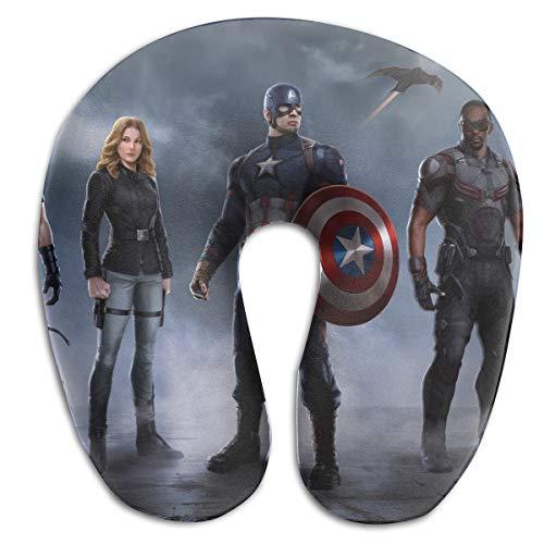 (HomeYdecor Civil War Captain America Team- Soft Memory Foam U-Shaped Pillows Travel Outdoor Portable Pillow Neckrest Travel Folding Pillow)