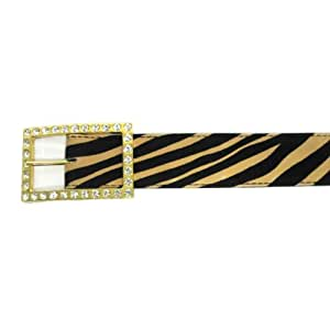 "1 1/2"" Women's Gold Buckle with Rhinestones on Quality Zebra Print Belt"