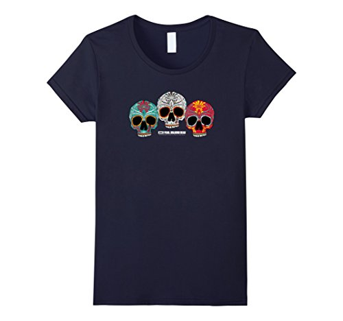 Womens Fear The Walking Dead Three Skull T-Shirt Large Navy