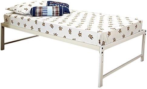 Kings Brand Furniture White Metal Twin Size Platform Bed Frame