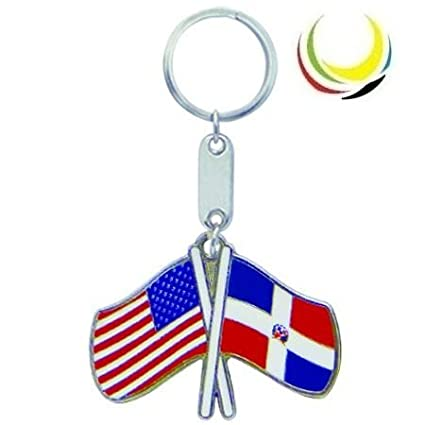 Keychain USA-DOMINICAN REPUBLIC FLAGS
