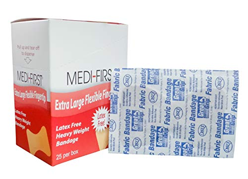 Medi-First Heavy Weight Fabric Large Fingertip Flexible Strip Adhesive Bandages 25/Box (3 Boxes) - MS28557