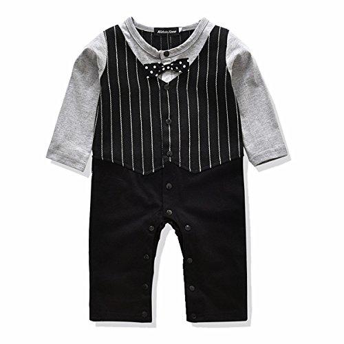 KidsInTime Baby Boys Gentleman Romper Bow Tie Jumpsuit Dressey Outfit 3m-24m (90(12-18m), Black)]()