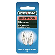 Rayovac K3-2 Krypton Bulb for 3 Cell D Size Flashlight. Flanged Base. Two on card. [PRICE is per EACH]