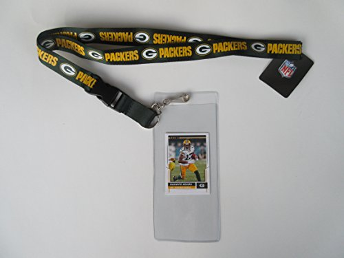 GREEN BAY PACKERS LANYARD WITH DETACHABLE CLIP AND TICKET HOLDER PLUS COLLECTIBLE PLAYER CARD