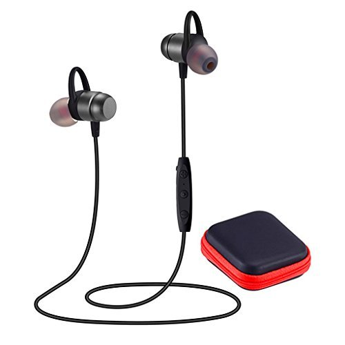 (Bluetooth Headphones 4.2 Wireless Sports Earphones HD Stereo Sweatproof Earbuds Magnetic Connection Headset for Gym Running Workout,Built-in Mic,Battery up to 10 Hours Playtime,JWAIT,Gray)