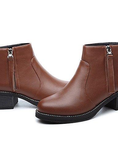 XZZ/ Damen-Stiefel-Büro / Lässig-Kunststoff-Blockabsatz-Modische Stiefel-Schwarz / Braun brown-us7.5 / eu38 / uk5.5 / cn38