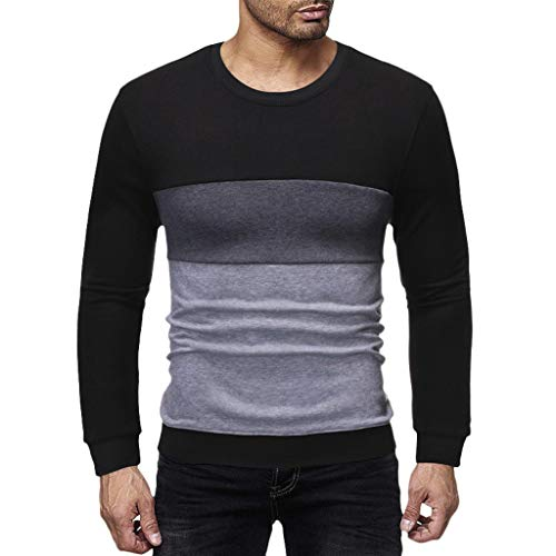 FORUU Mens Shirts,2019 Sale Autumn Winter Patchwork Long Sleeve Trendy Casual Sport Comfy Sweatshirt Tops T Shirts Pullover Party Daily Evening Best Gift for Boyfriend Under 10 Dollars