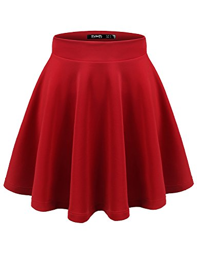 TWINTH Womens Versatile Stretchy Pleated Flare Skater Skirt Red (Velma Costume)