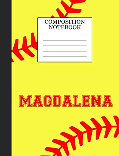 Magdalena Composition Notebook: Softball Composition Notebook Wide Ruled Paper for Girls Teens Journal for School Supplies | 110 pages 7.44x9.269 por Sarah Blast