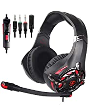 Gaming Headphones for New Xbox One, PS4 Controller,3.5mm Wired Over Ear Noise Cancelling with Mic & Volume Control & Bass Surround for Mac/PC/Laptop