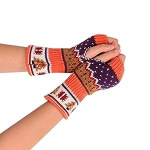 coohole Navidad elástica de punto guantes sin dedos brazo invierno unisex caliente suave manopla guantes, naranja