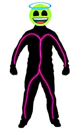 GlowCity Light Up Super Bright Angel Emoji Stick Figure Costume for Parties Lighting & Mask Kit - Clothing Not Included - Pink - Medium 5-6 FT Tall