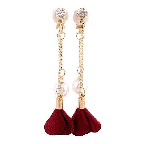 Grace Jun Handmade Frabic Flower Simulated Pearl Tassel Clip on Earrings No Pierced for Women Gold PlatedEar Clip (wine (Pearl Red Gold Earrings)
