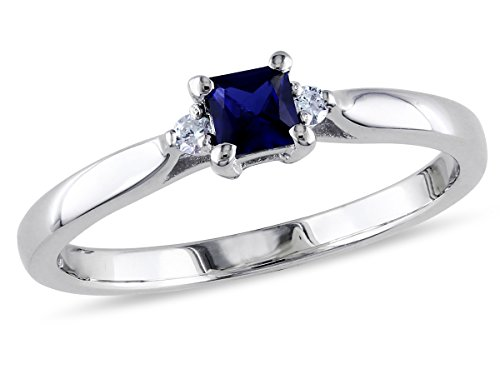 Created Blue Sapphire and Diamond Fashion Ring 2/5 Carat (ctw) in Sterling Silver