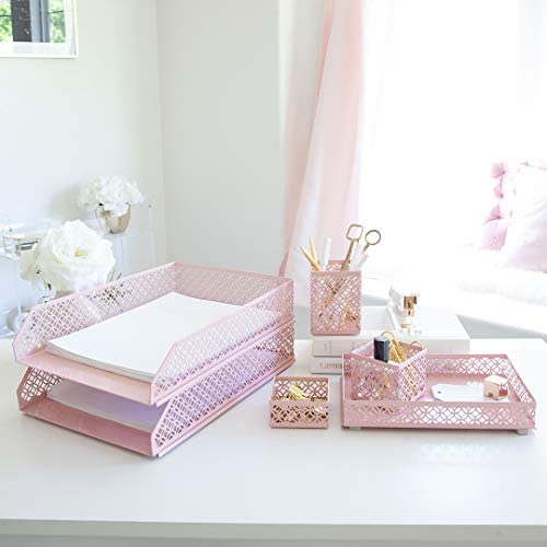 Blu Monaco Office Supplies Pink Desk Accessories for Women-6 Piece Interlocking Desk Organizer Set- Pen Cup, 3 Assorted Accessory Trays, 2 Letter Trays-Pink Room Decor for Women and Teen Girls 41VbeNTvHmL