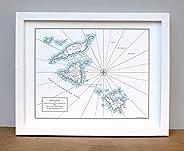 Anguilla, St. Martin, and St. Barts Letterpress Map Unframed Print