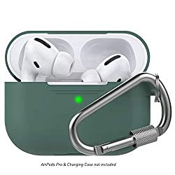 Delidigi AirPods Pro Case Cover with Carabiner Silicone Compatible with Apple AirPods Pro 2019 (Pine Green)