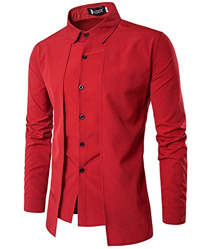 xingoukeji Men's Long Sleeve Casual Shirt Button Slim Fit Solid Formal Office Tops, Red L (Red Shirt Dress)