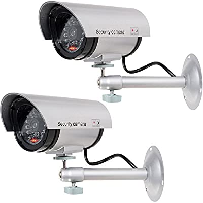 WALI Bullet Dummy Fake Surveillance Security CCTV Dome Camera Indoor Outdoor with Illuminating LED Light + Warning Security Alert Sticker Decals by WALI