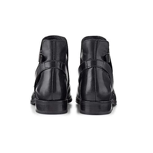 Cox Trend-Bootie Aus Leder, Schwarze Stiefeletten IM Chelsea Style mit Cut-Outs und Nieten Schwarz