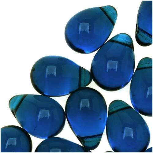 Jablonex Czech Glass Teardrop Beads 9mm Aqua Capri Blue (50)