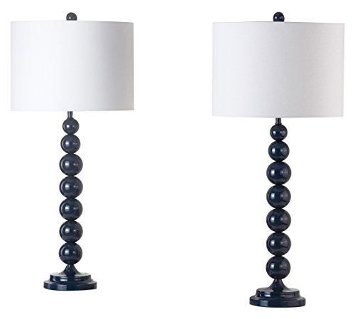 Safavieh Lighting Collection Jenna Navy Stacked Ball 31-inch Table Lamp, (Set of 2) Shade