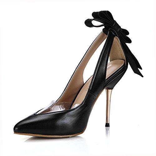 Best 4U® Sandalias de PU de verano para mujer Punta estrecha 10.7CM Tacones de metal alto Zapatos de suela de goma Bombas de arco Slingback Negro , EU36
