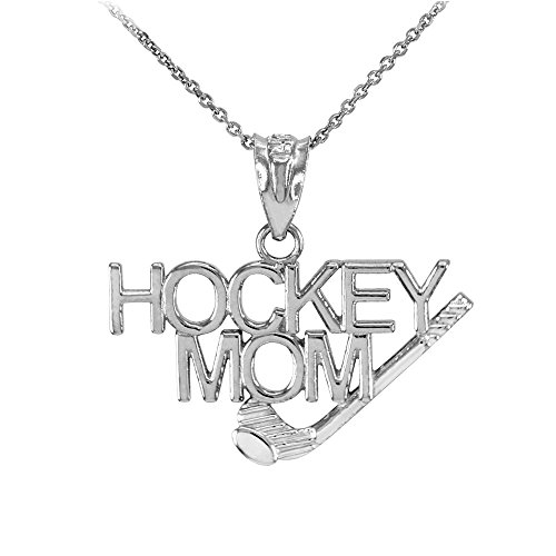Ice Hockey Sports Charm (Fine 925 Sterling Silver HOCKEY MOM Sports Pendant Necklace, 18