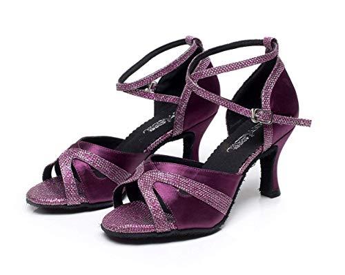 our36 Sexy Purpleheeled7 Baile Alto Zapatos Uk4 Jazz Salsa Our40 Para Púrpuraheeled6cm uk6 eu35 Tamaño Tacón Tango De Eu39 Latino Color Mujer 5cm Salón fwI5B