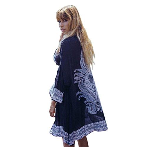 BCDshop Women Vintage Cover Ups Kimono Cardigan Boho Print Sheer Blouses Tops Outwear (Black, M)