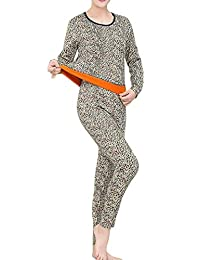 Hajotrawa Womens Round-Neck Thick Soft Printed Fleece Thermal Underwear Sets