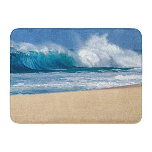 North Shore Monogram - Koperororo Doormats Bath Rugs Outdoor/Indoor Door Mat Blue Surf Big Breaking Ocean Wave on Sandy Beach North Shore of Oahu Hawaii Crashing Bathroom Decor Rug 16