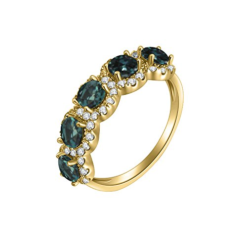 Natural Color Change Alexandrite Diamond Ring in 14 K Yellow Gold