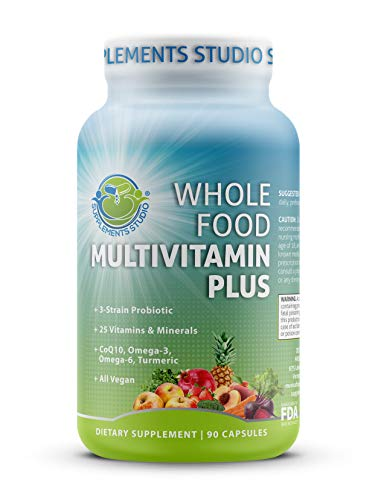 - Whole Food Multivitamin Plus - Vegan - Daily Multivitamin for Men and Women with Organic Fruits and Vegetables, B-Complex, Probiotics, Enzymes, CoQ10, Omegas, Turmeric, All Natural, 90 Capsules